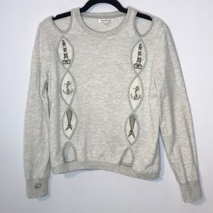 Modcloth cut out nautical print sweatshirt